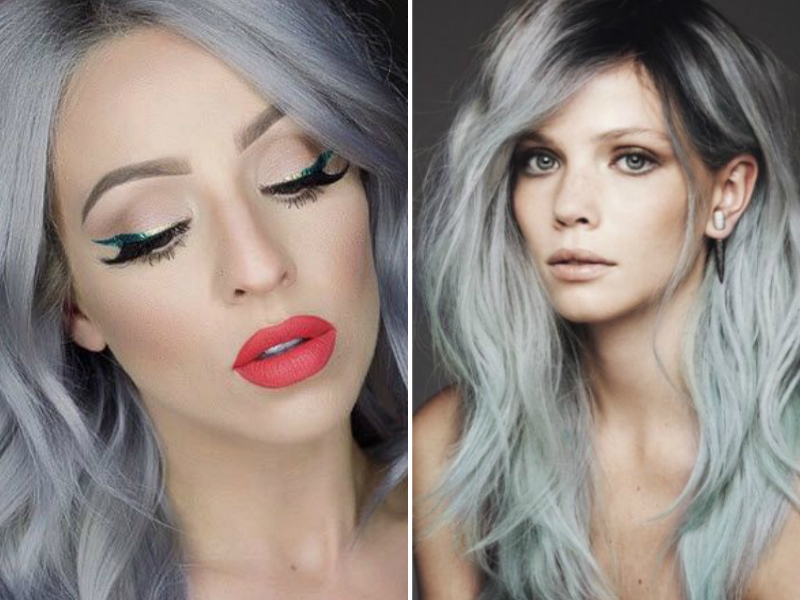 Makeup for grey hair and blue eyes