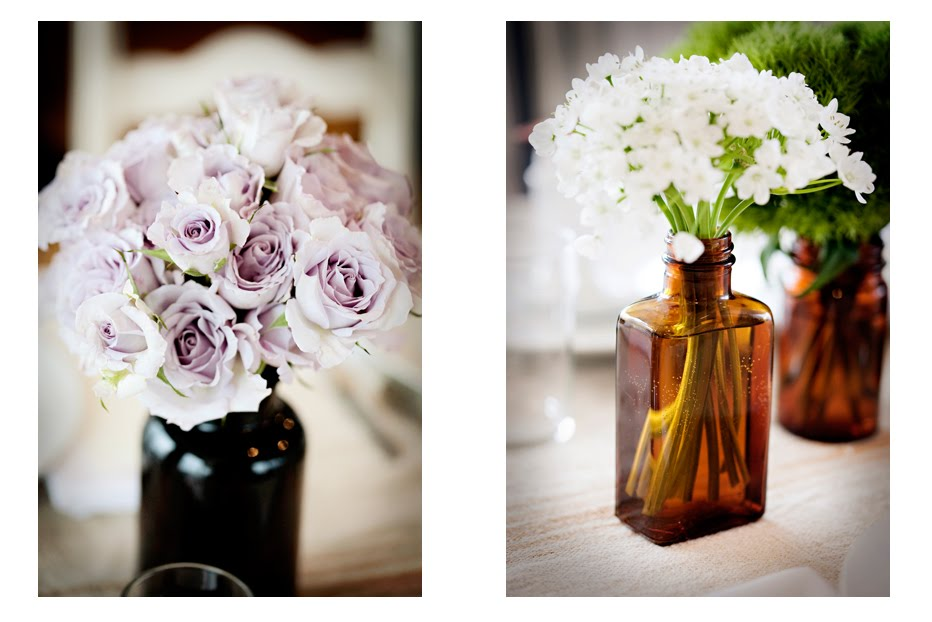 flowers and old-fashioned bottles - Summer Wedding Ideas