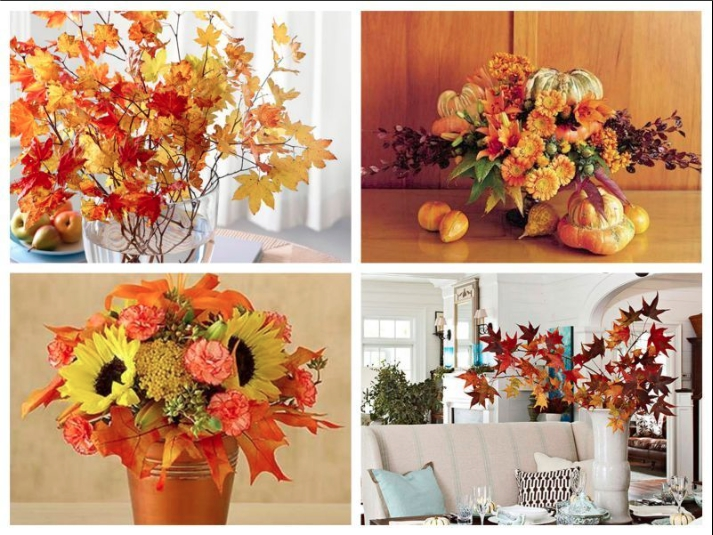 3. Autumnal flower and leaf arrangements