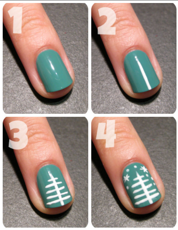 3. Minimalist Christmas Tree Nails