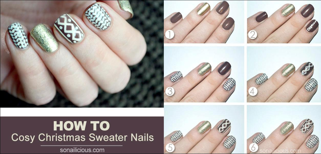 5. Cosy Christmas Sweater Nails