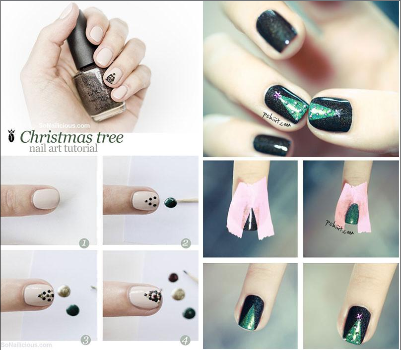 6. Glittery Christmas Trees Nails
