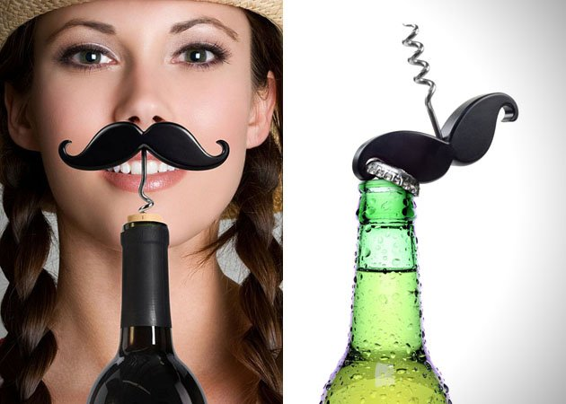 11. The Handlebar Mustache Bottle Opener & Corkscrew