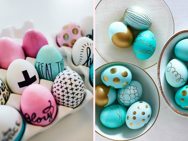 Mix and match contrasting egg and paint colors to create a bright, speckled collection with one of these many Easter egg ideas from Meaghan Mountford. Dye eggs desired colors and let dry completely.
