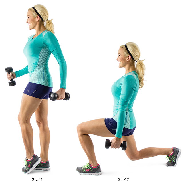 7. Walking lunges with dumbbells