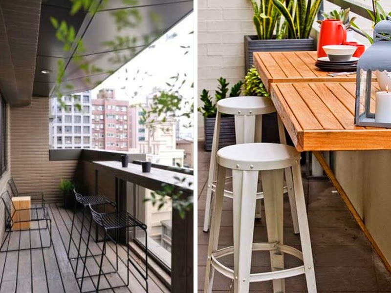 2. Install a balcony bar or a table