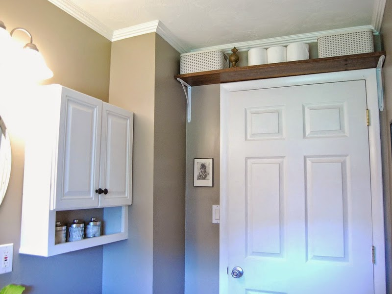 8. Install an extra shelf above the door.