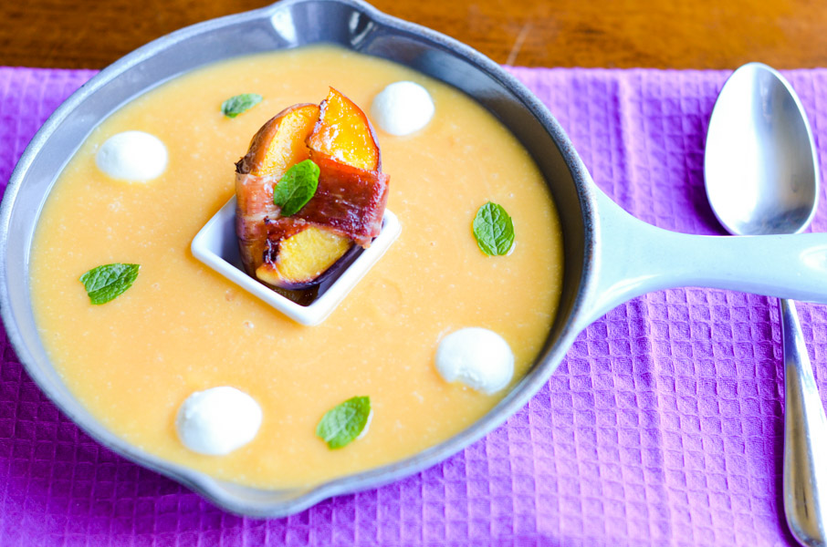 9.  Peach Soup with Goat Cheese