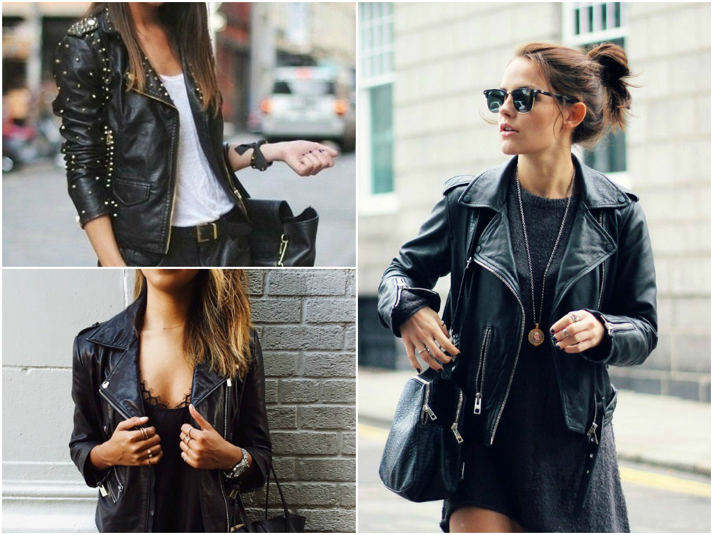 7. Black leather jacket