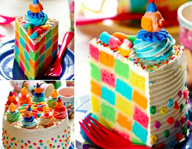 2 Rainbow Checkerboard Cake