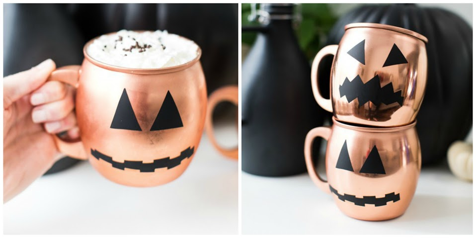 2. Rose Gold Jack-O Lantern Mugs