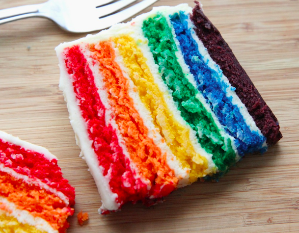3. Layered Rainbow Cake