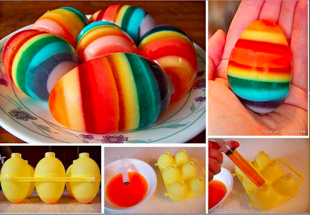 9. Rainbow Jello Eggs