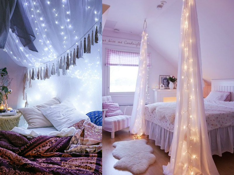 String lights diy decorating ideas her beauty for How to decorate your bedroom with lights