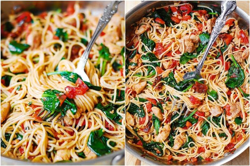 Tomato Spinach Chicken pasta