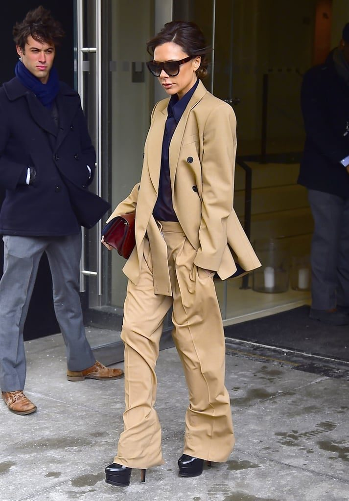 Camel suit with boxy | Victoria Beckham Style | Her Beauty