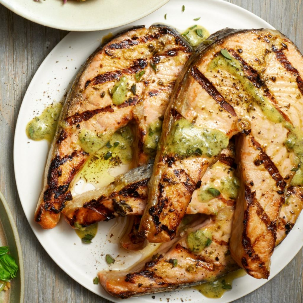 Mustard-Coriander Salmon Steaks | 12 Grilling Recipes You've Gotta Try This Summer | Her Beauty
