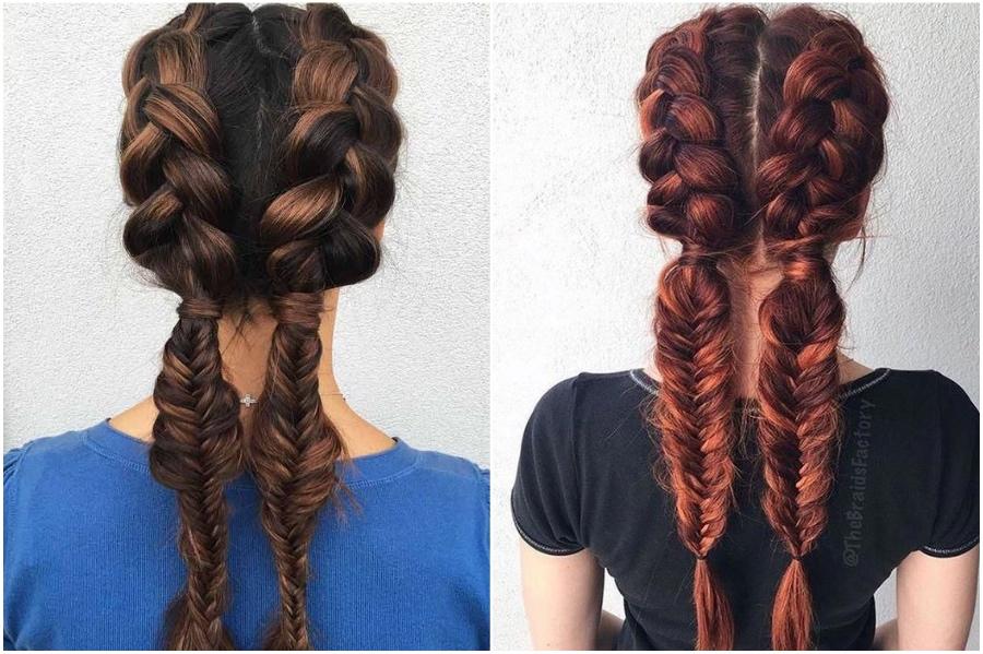 Dutch Braid & Fishtail Braid Combo | 12 Pretty Long Hairstyles for Fall 2019 | Her Beauty