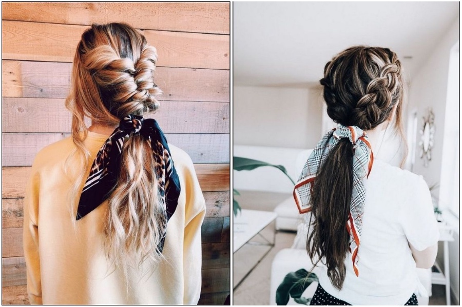 Dutch Braids With Hair Scarf | 12 Pretty Long Hairstyles for Fall 2019 | Her Beauty