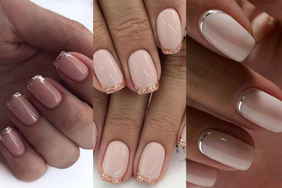 Sparkly and Glittery French Manicure   8 Fresh French Manicure Design Ideas   Her Beauty