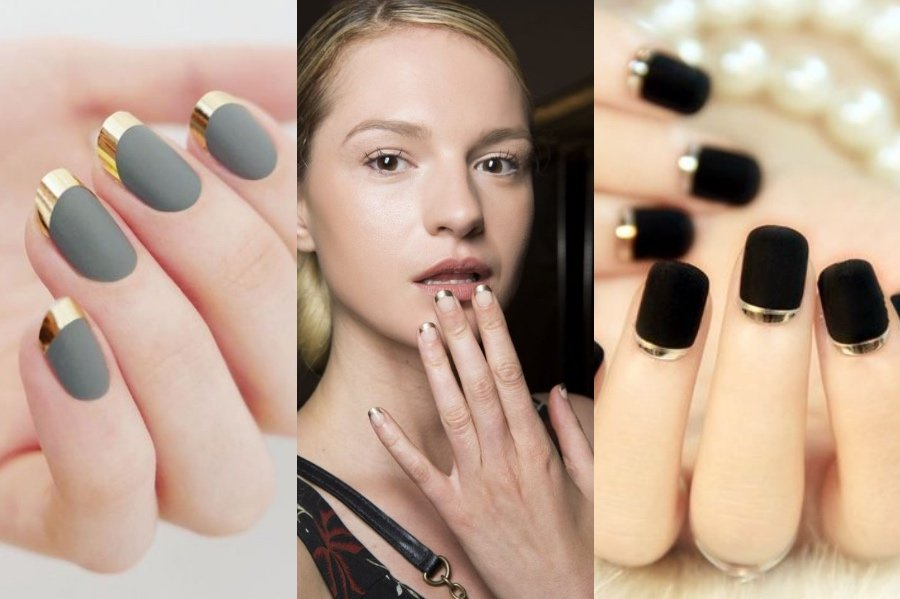 Metallic French Manicure   8 Fresh French Manicure Design Ideas   Her Beauty