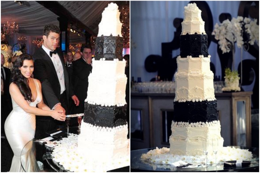 Kris Humphries and Kim Kardashian's $20,000 black and white marble cake | 8 of the World's Most Stunning (and Expensive) Wedding Cakes | Her Beauty