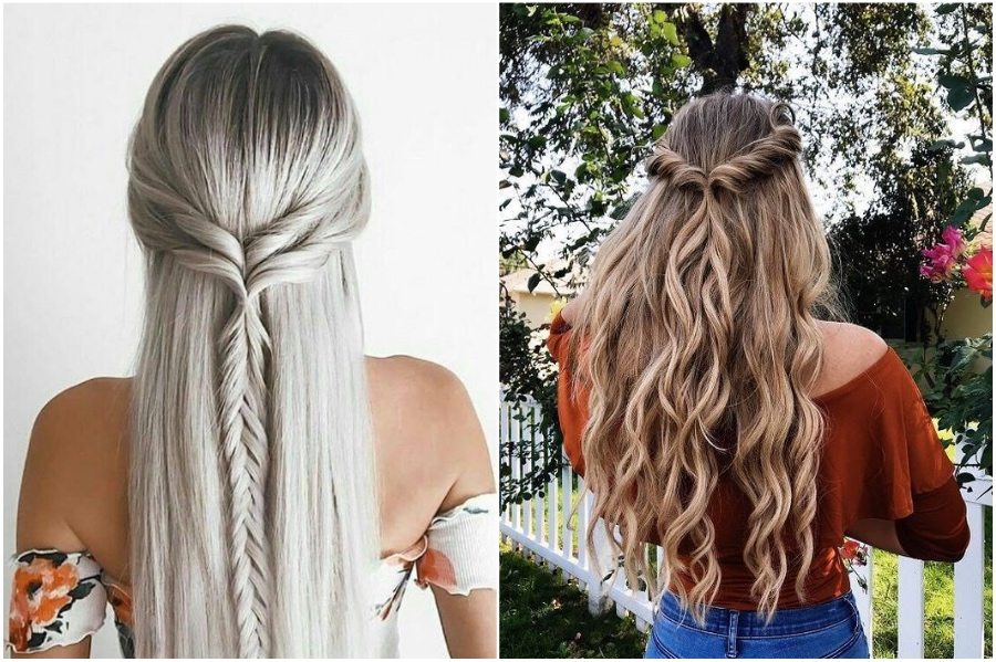 Lazy Half Up-Do | 12 Pretty Long Hairstyles for Fall 2019 | Her Beauty