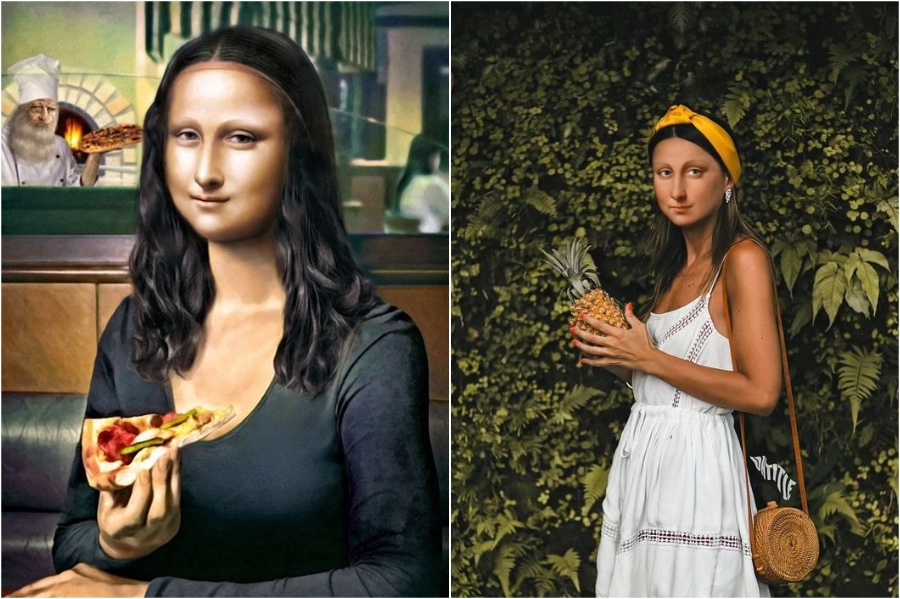 Mona Lisa eats pizza | Mona Lisa Reimagined In The Modern World Excerpt | Her Beauty