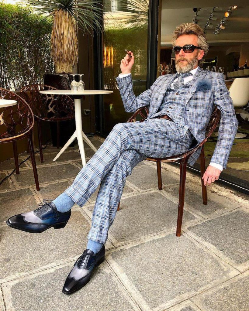 three piece suit and blue feather on Pierrick Mathon | 12 Classiest Yet Fun OOTD You've Ever Seen From Pierrick Mathon | Her Beauty