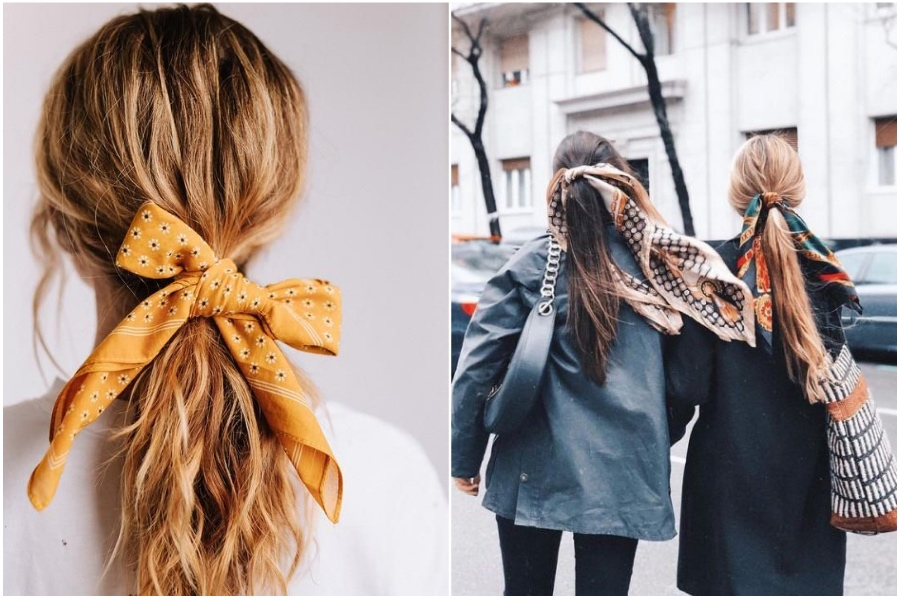 Ponytail With A Hair Scarf | 12 Pretty Long Hairstyles for Fall 2019 | Her Beauty