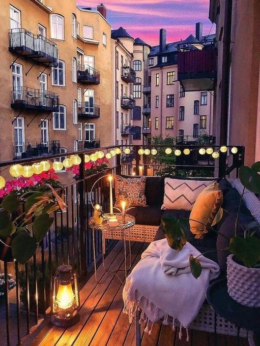 Touch of light Balcony #2   10 Cozy Balcony Ideas   Her Beauty