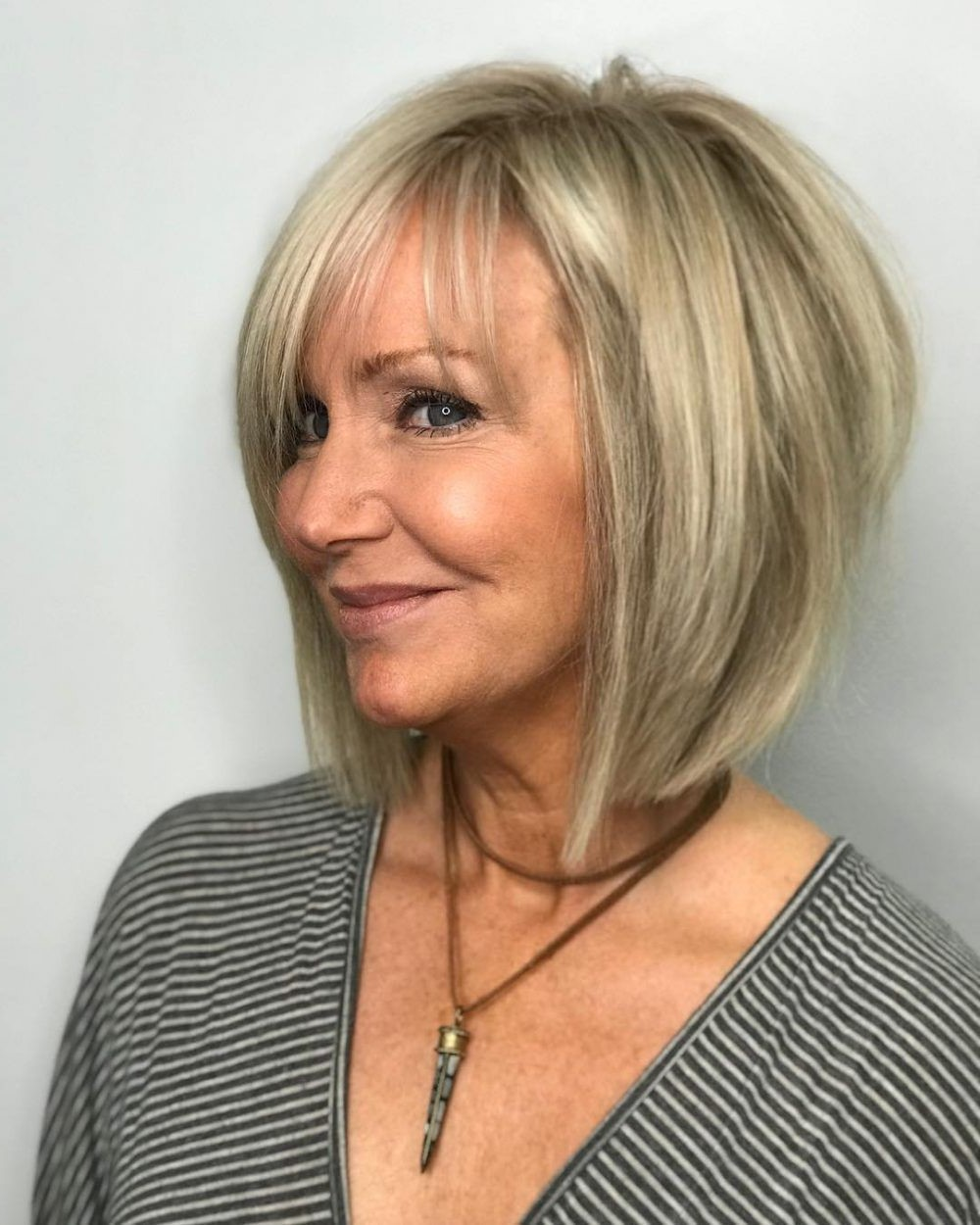 Blond balayage bob with angled layers | Short Hairstyles For Women Over 50 | Her Beauty