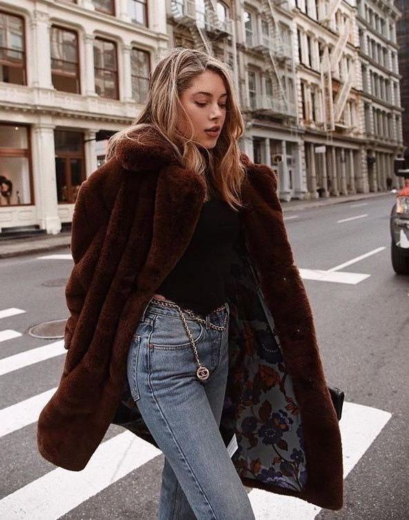 Chocolate faux fur | 10 Coolest Winter Coat Trends | Her Beauty