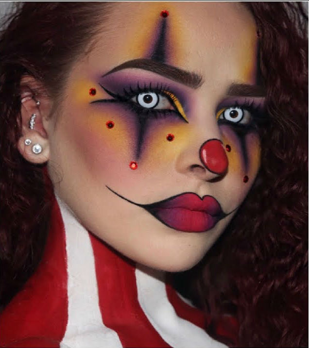 Crazy clown  |  11 Creepy and Cool Halloween Makeup Ideas to Try This Year |  HerBeauty