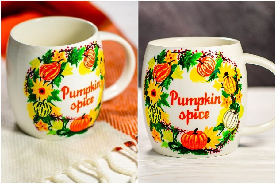 Punpkin spice | Hand-Painted Glass Cups And Teapots That Will Make Your Day | Her Beauty