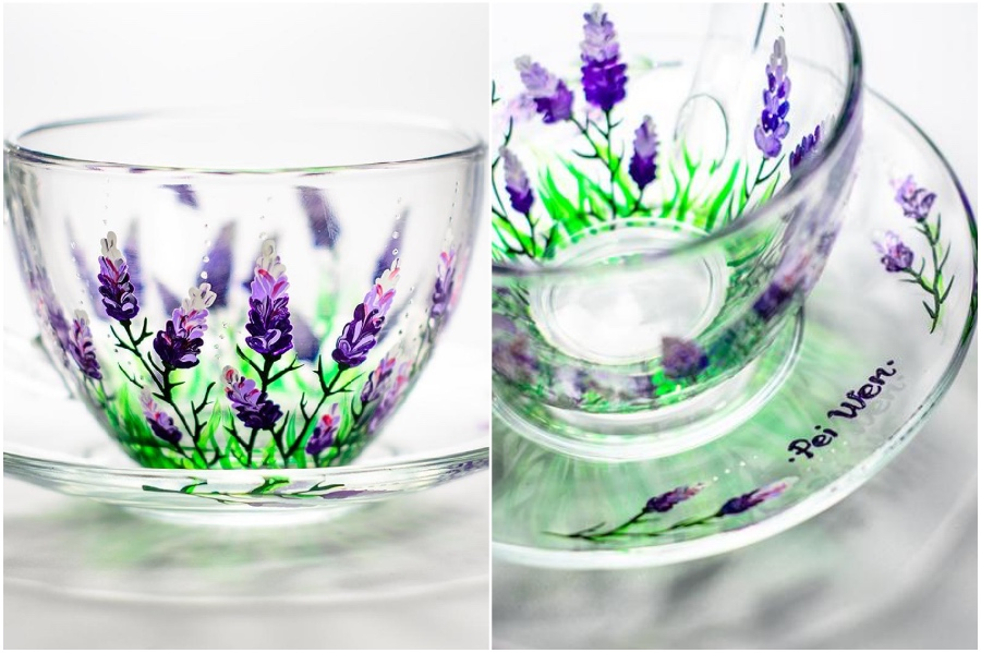 Lavender class cup  | Hand-Painted Glass Cups And Teapots That Will Make Your Day | Her Beauty