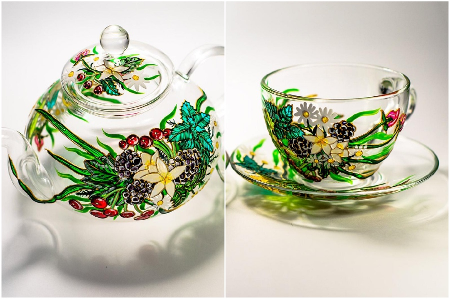 Nature-inspired motifs | Hand-Painted Glass Cups And Teapots That Will Make Your Day | Her Beauty