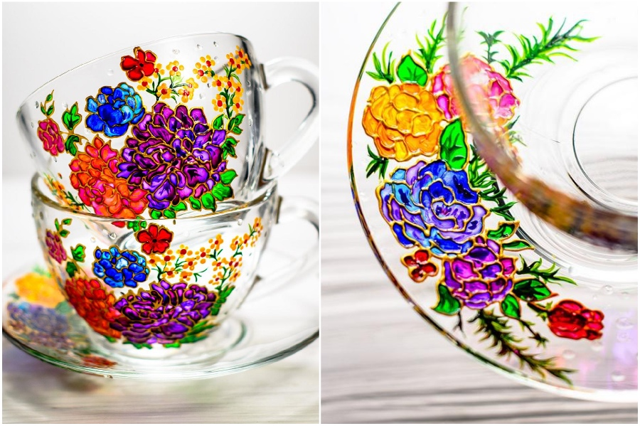 Vintage-inspired flower | Hand-Painted Glass Cups And Teapots That Will Make Your Day | Her Beauty