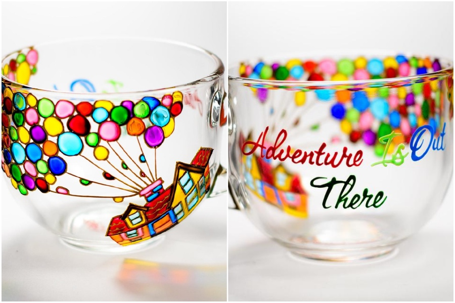 Inspired by Disney's movie Up | Hand-Painted Glass Cups And Teapots That Will Make Your Day | Her Beauty