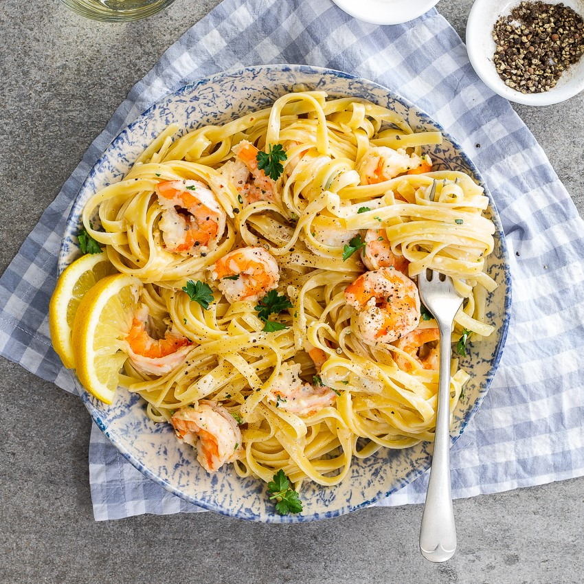 Pasta with Shrimp, Lemon, Herbs and Feta | 12 Easy But Delicious Shrimp Recipes | Her Beauty