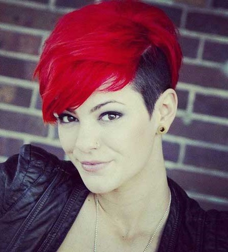 Black choppy pixie with red bangs | Short Hairstyles For Women Over 50 | Her Beauty
