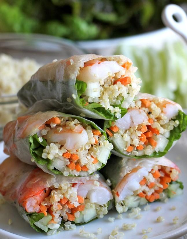Roasted Shrimp Quinoa Spring Rolls | 12Easy But Delicious Shrimp Recipes | Her Beauty