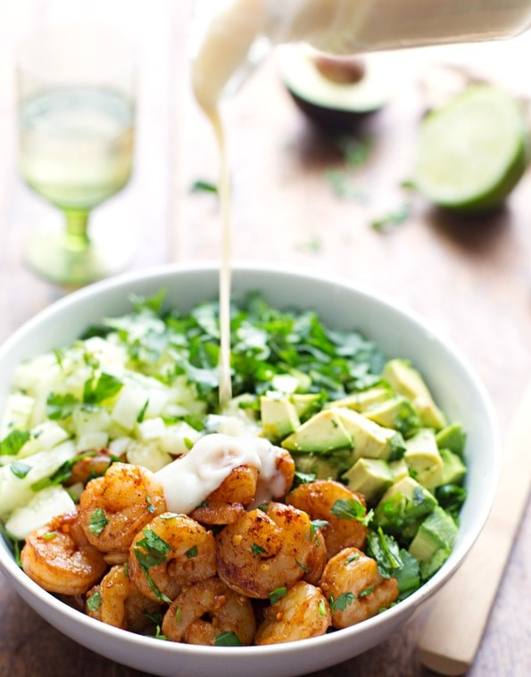 Shrimp and Avocado Salad with Miso Dressing | 12Easy But Delicious Shrimp Recipes | Her Beauty