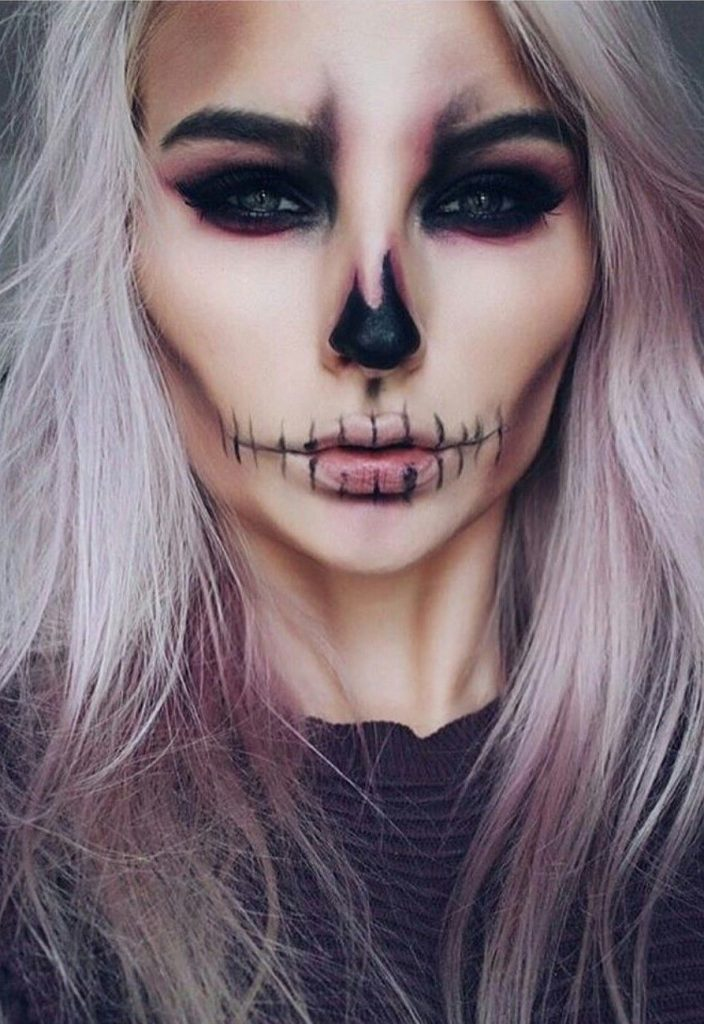 Skull  face #2  |  11 Creepy and Cool Halloween Makeup Ideas to Try This Year |  HerBeauty