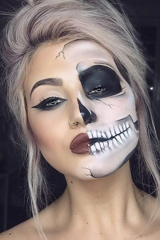 Skull face #1  |  11 Creepy and Cool Halloween Makeup Ideas to Try This Year |  HerBeauty