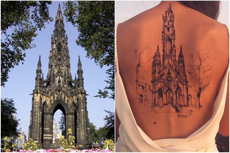 Walter Scott Monument in Edinburgh | Artist Uses Her Body As A Canvas For Architecture Sketches | Her Beauty