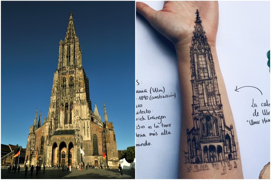 Lutheran church in Germany | Artist Uses Her Body As A Canvas For Architecture Sketches | Her Beauty
