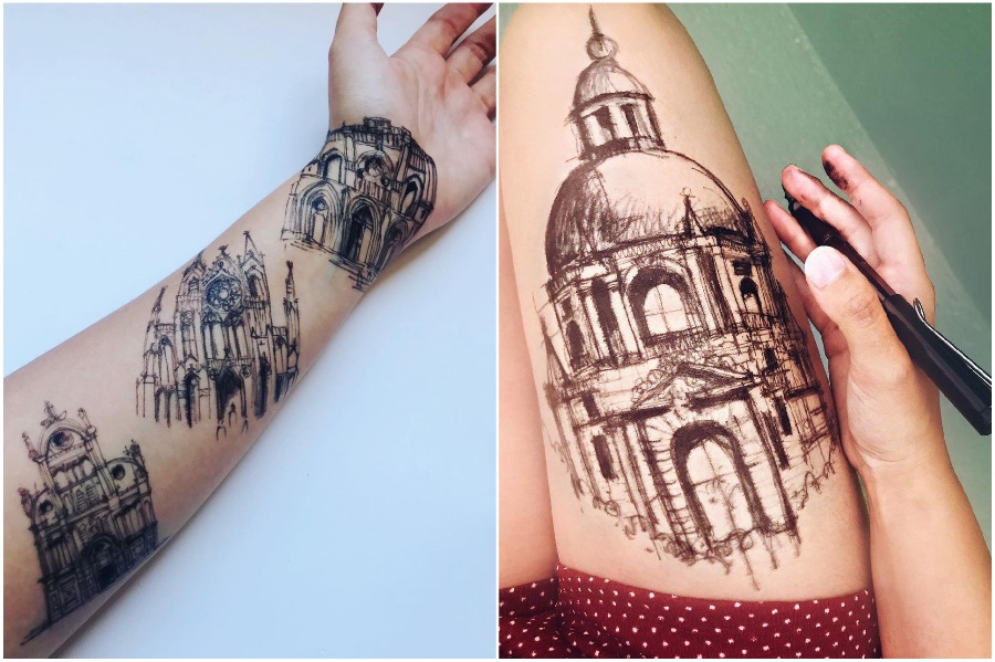 Tattoo | Artist Uses Her Body As A Canvas For Architecture Sketches | Her Beauty