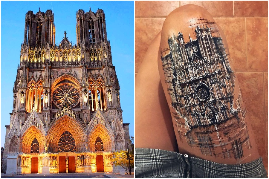 Notre-Dame de Reims | Artist Uses Her Body As A Canvas For Architecture Sketches | Her Beauty