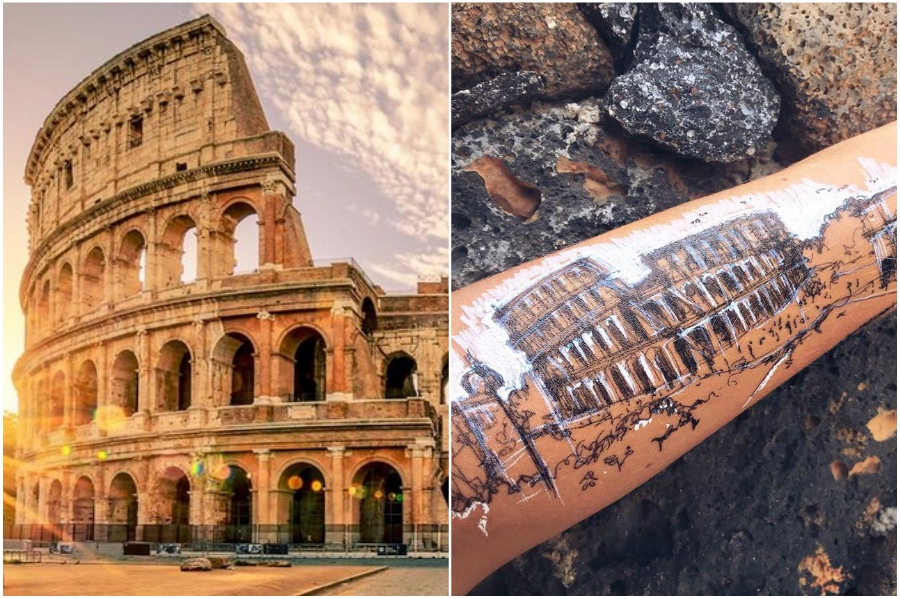 Roman Colosseum | Artist Uses Her Body As A Canvas For Architecture Sketches | Her Beauty